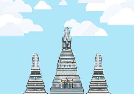 Landscape graphic image of Wat Arun, the most famous temple in Bangkok, Thailand, with blue sky and white cloud. 版權商用圖片 - 157526698