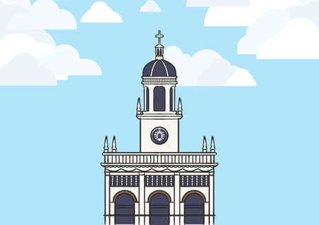 Landscape graphic image of Santa Cruz Church, one of the Roman Catholic church in Bangkok, Thailand, with blue sky and white cloud.