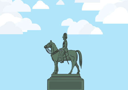 Landscape graphic image of The Equestrian Statue of King Chulalongkorn, the statue of beloved king of Thailand, with blue sky and white cloud. 向量圖像