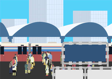 Artwork of many people standing at the train station waiting to get the skytrain for their destination in the rush hour. 矢量图像