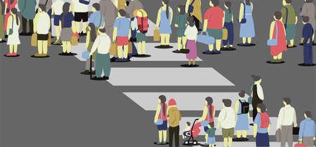 Many people walking across the road with crosswalk. 矢量图像