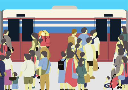 Artwork of many people standing at the train station waiting for skytrain, this is the city life. 矢量图像