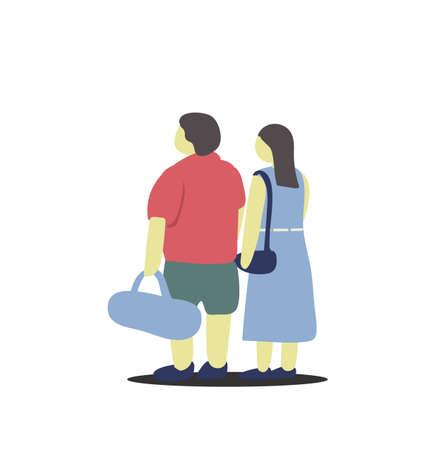 Chubby couple go to the sea on their holiday. 向量圖像