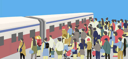Many people waiting at the station waiting for the train for travel with blue sky. 矢量图像