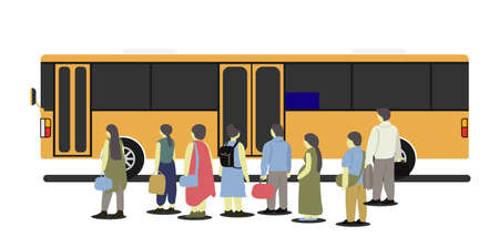 People standing at the bus stop waiting to get the orange bus.