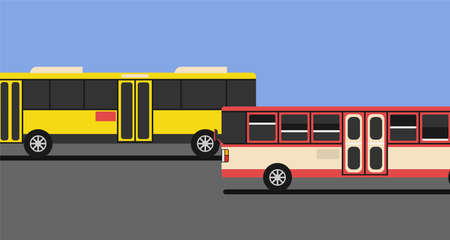 Red bus and yellow bus drive on the road with blue sky and copy space. 矢量图像