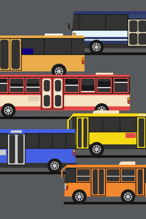 Cropped image of many colorful bus for public transportation in vertical.