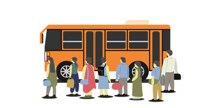 People standing at the bus station waiting to get the orange minibus.