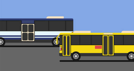 Yellow bus and blue and white bus drive on the road with blue sky and copy space.