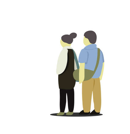 Artwork of teenage couple standing together, they're on vacation.