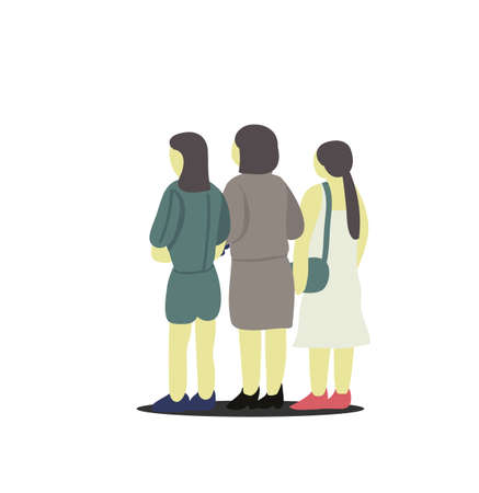 Artwork of three girls friend standing together waiting for travel.