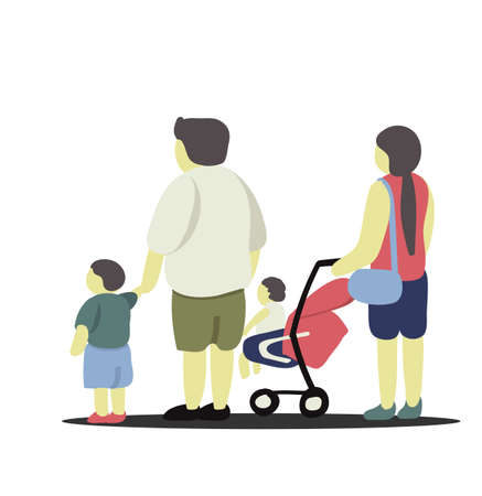 Artwork of family with father, mother and two children standing together.