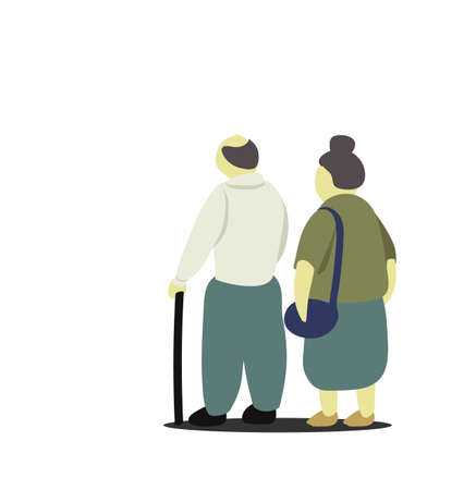 Old married couple standing tigether with white background.