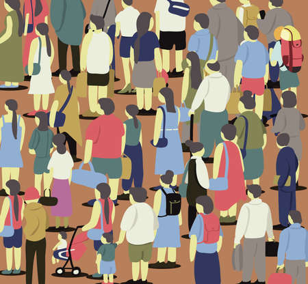Cropped graphic image of many people in crowded condition on the brown floor.