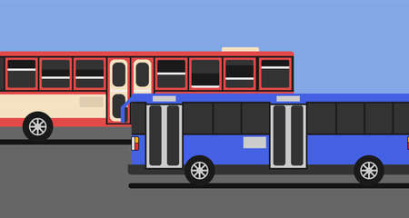 Red bus and blue bus drive on the road with blue sky and copy space. 矢量图像