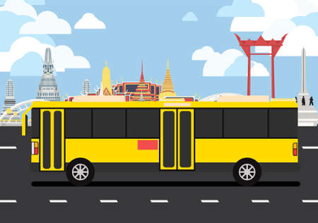 Yellow bus drive pass many landmarks of Bangkok, the principal city of Thailand. Ilustracja