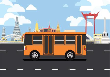 Orange minibus drive pass many landmarks of Bangkok, the principal city of Thailand.