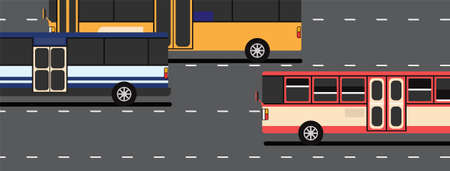 Three buses on the black road heading to the same way. Ilustracja