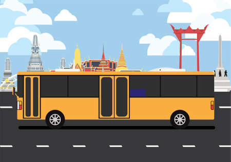 Orange bus drive pass many landmarks of Bangkok, the principal city of Thailand. Ilustracja