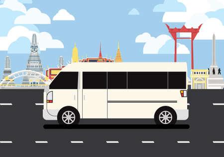 White van drive pass many landmarks of Bangkok, the principal city of Thailand.