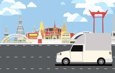 White truck with canopy drive pass many landmarks of Bangkok, the principal city of Thailand with copy space. 矢量图像