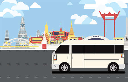 White van drive pass many landmarks of Bangkok, the principal city of Thailand with copy space.