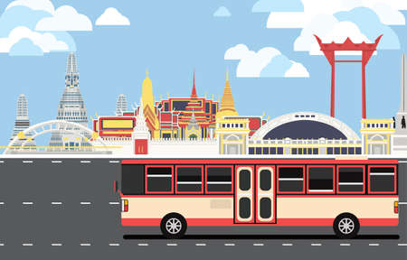 Red bus drive pass many landmarks of Bangkok, the principal city of Thailand with copy space. Ilustracja