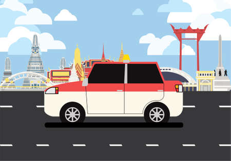 Pink and white taxi drive pass many landmarks of Bangkok, the principal city of Thailand.