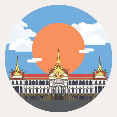 The Grand Palace is the main house of Thai Royal Family, the palace is in Bangkok, the center of Thailand with sunshine and cloudy sky.