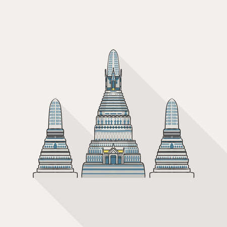 Illustration of Wat Arun, the most famous temple in Thailand on white background.