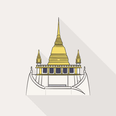 Wat Saket (Golden Mount) one of the most famous tourist attraction in Bangkok, Thailand on white background.