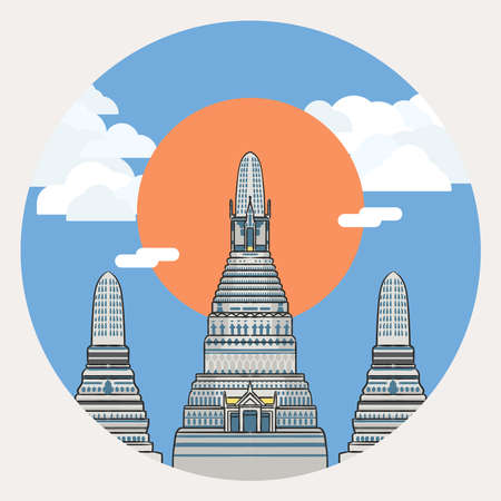 Illustration of Wat Arun, the most famous temple in Thailand.