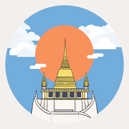 Wat Saket (Golden Mount) one of the most famous tourist attraction in Bangkok, Thailand with big sun and cloudy sky. 向量圖像