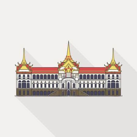 The Grand Palace is the main house of Thai Royal Family, the palace is in Bangkok, the center of Thailand on white background. 向量圖像