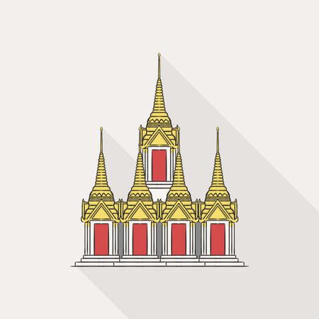 Illustration of Wat Ratchanadda as known as Loha Prasat, another famous tourist attraction in Bangkok, Thailand, on white background.