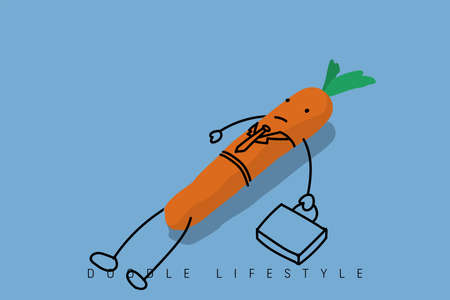 Carrot wearing the suit, hold the suitcase but lie down on the floor, he's too lazy. Vettoriali