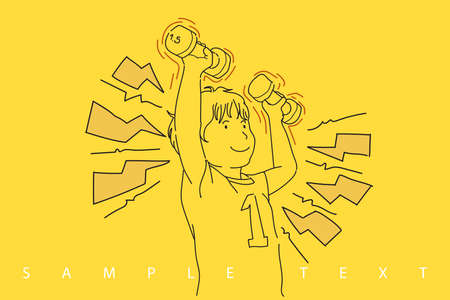 Little boy in purple t-shirtraise the dumbbell up with both of hands and smile. 向量圖像