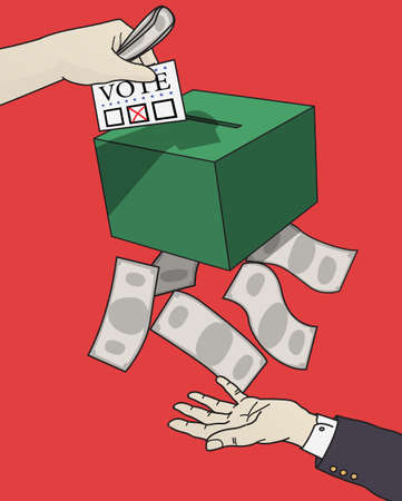 A hand of politician is under the ballot box, waiting for the money and benefit that he will get when he's government.