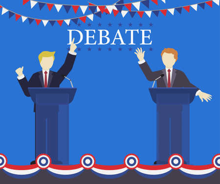 Two candidates debate on the stage, they talk about their political policy.