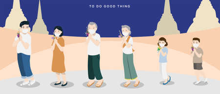 In Buddhist Holy Day, people will go to the temple with candle and flower, they will walk around the temple for 3 rounds and pay the respect to Buddha. But in covid-19 situation, people have to keep walking in social distancing measure.