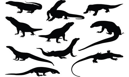 Komodo Dragon Silhouette vector illustration