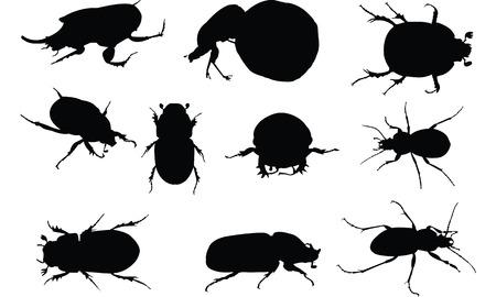 フンコロガシ シルエット ベクトル図