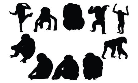 Chimpanzee Silhouette illustration vectorielle Banque d'images - 81552828