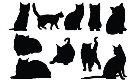 Illustration vectorielle de silhouette de chat Banque d'images - 81539043