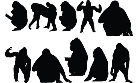 Illustration vectorielle de Gorilla Silhouette Banque d'images - 81552795