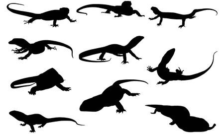 Monitor lizard silhouette vector illustration