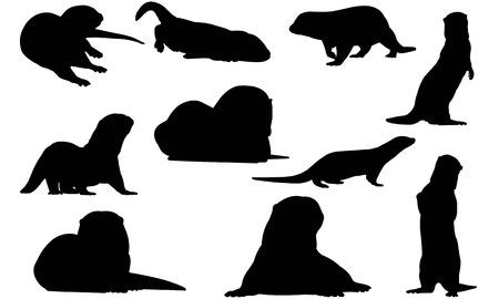 Otter  silhouette vector illustration