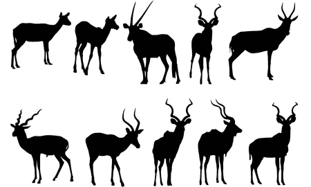 Antilope silhouet vectorillustratie Stock Illustratie