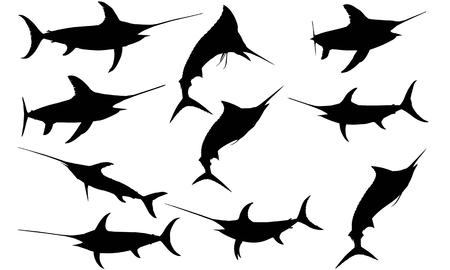 Sword fish silhouette illustration