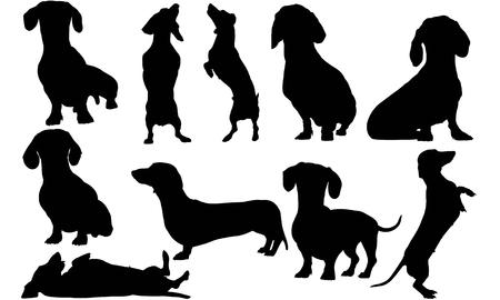 Dachshund Dog silhouette illustration Vettoriali